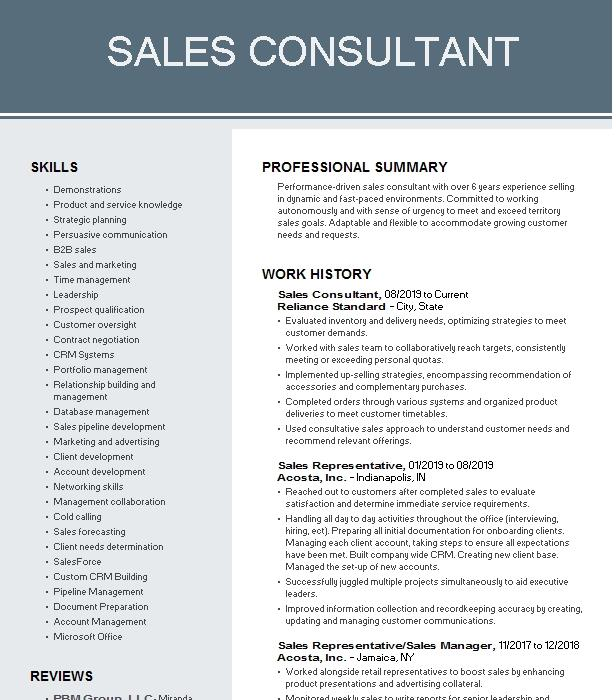 consultant and sales part time resume example artisan