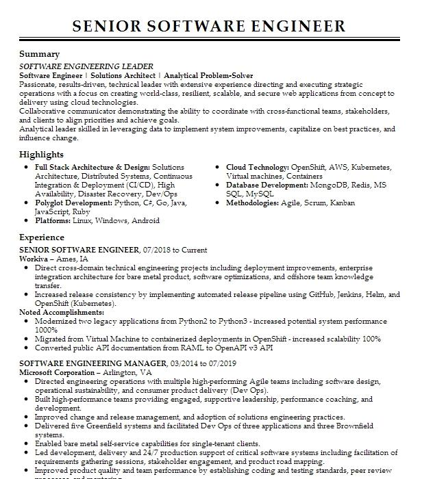 senior software engineermanager resume example towers