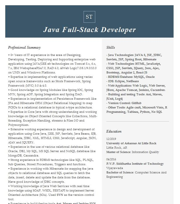junior full stack developer resume example the difference