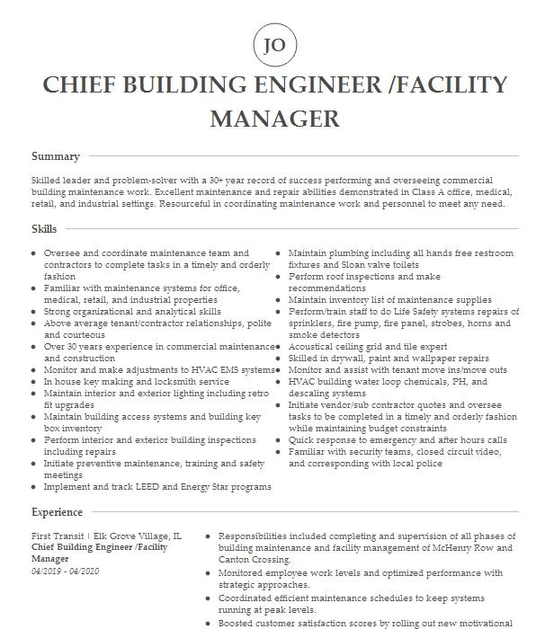 chief engineer and manager on duty resume example company