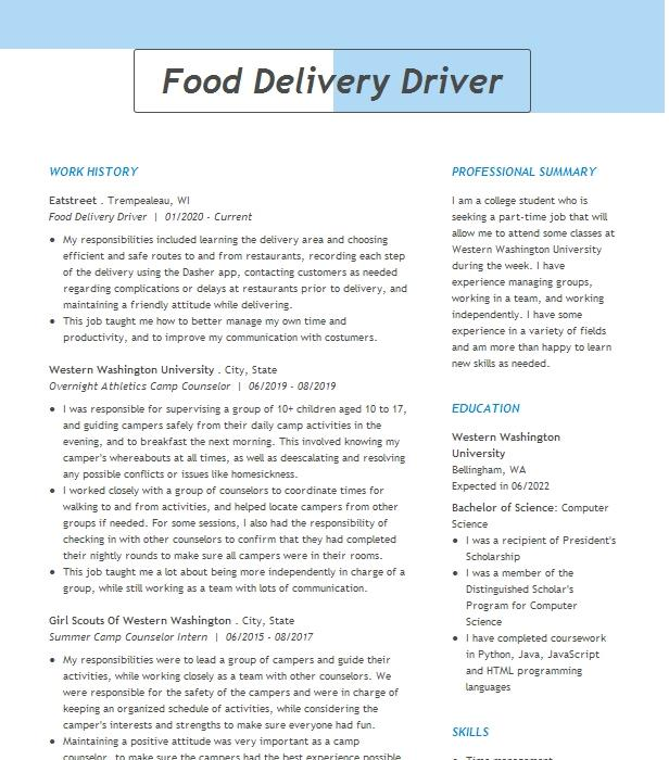 food delivery driver resume example spring garden 2