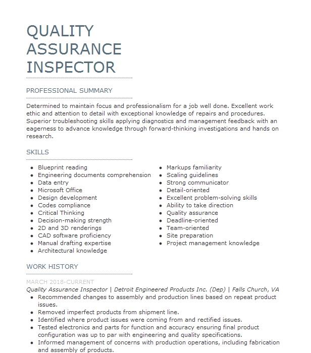 quality assurance inspector resume example naval weapons