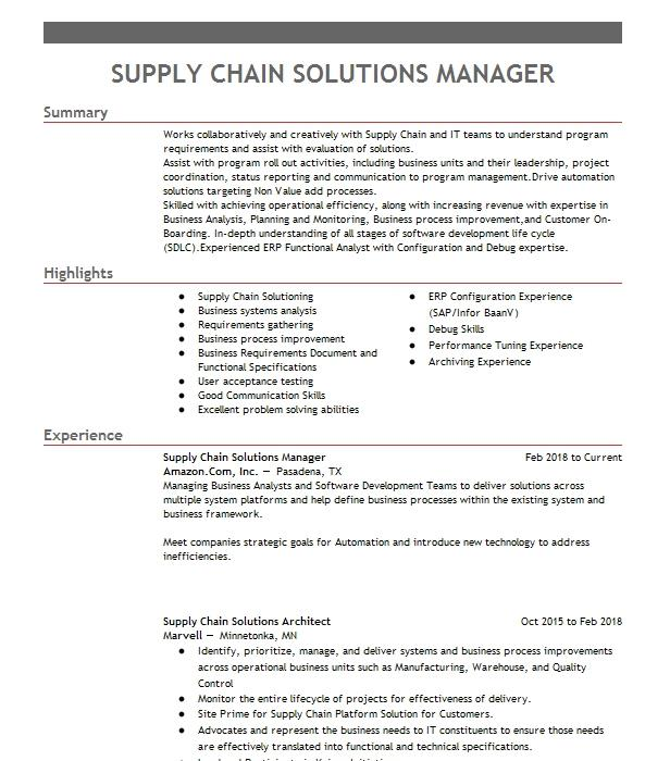 Supply Chain Manager Resume.Supply Chain Manager Resume Example Surna Broomfield Colorado