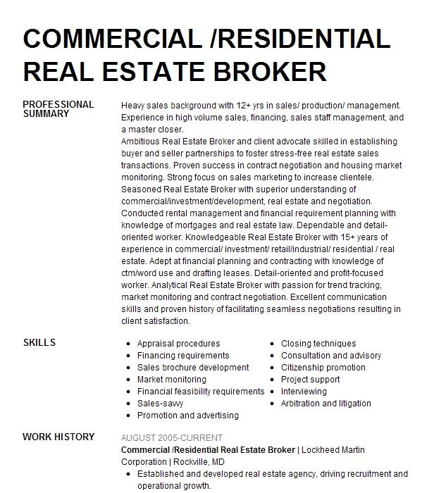 commercial real estate broker associate resume example
