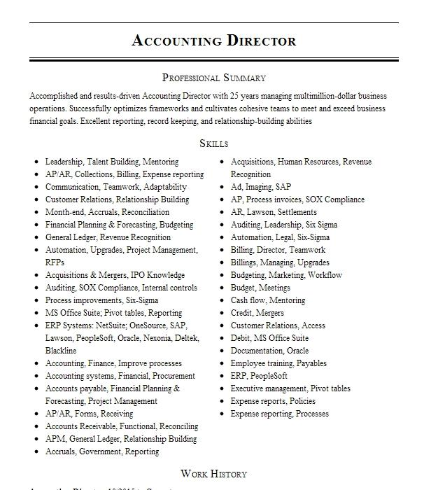 accounting director resume example square one advertising