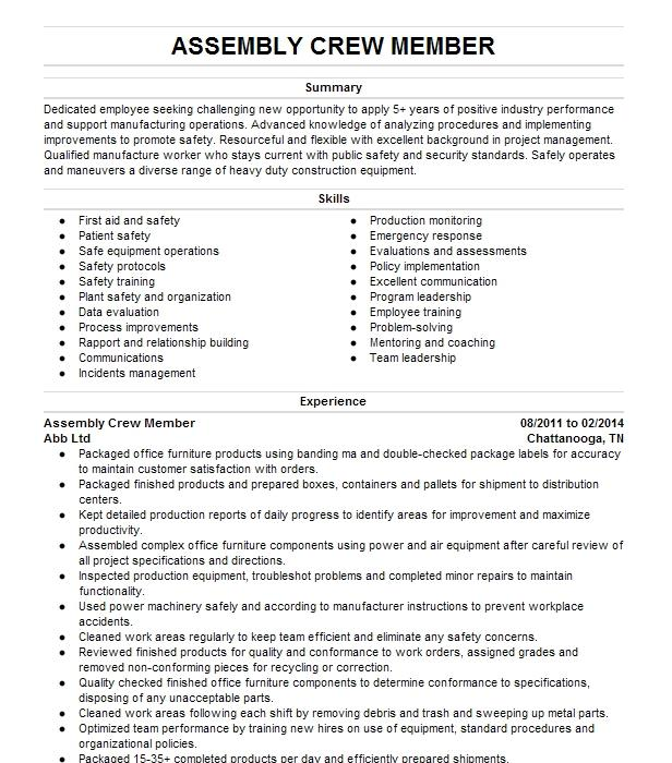 machine operator   production worker resume example