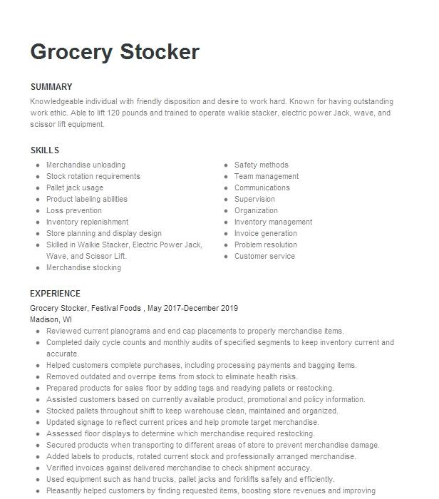 grocery stocker resume example publix super markets