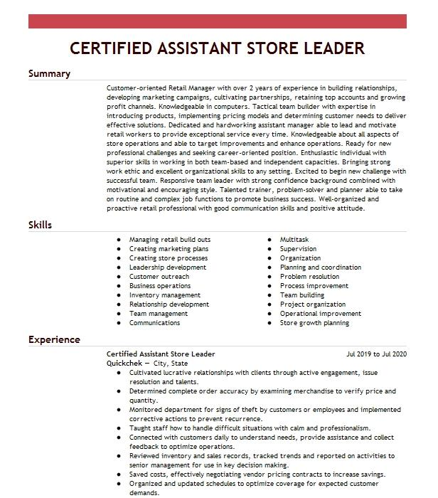certified store manager resume example walgreens boots