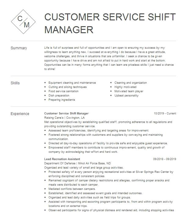 shift manager in training  customer service associate