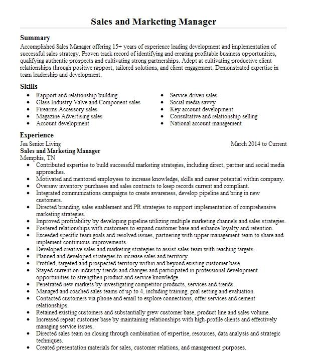 marketing  sales manager resume example mm jewelry