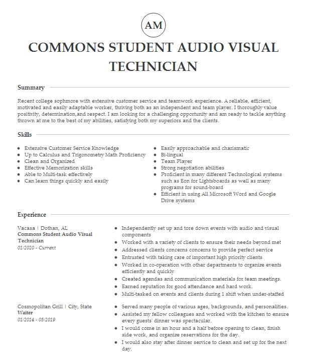 audio visual technician resume example psav