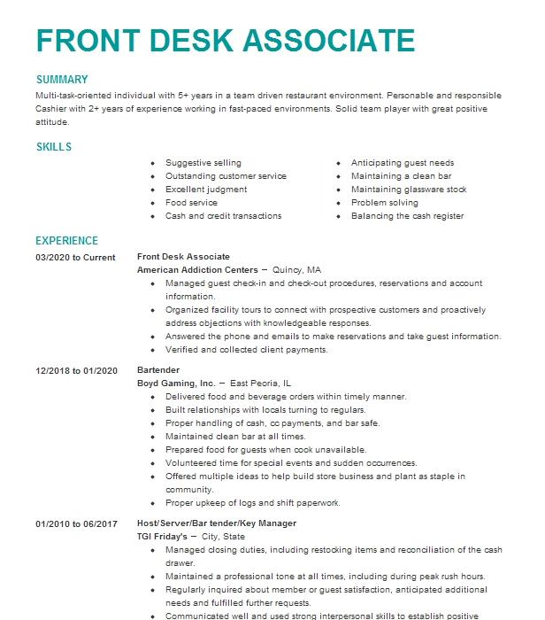 Bartender Resume Objectives Sample