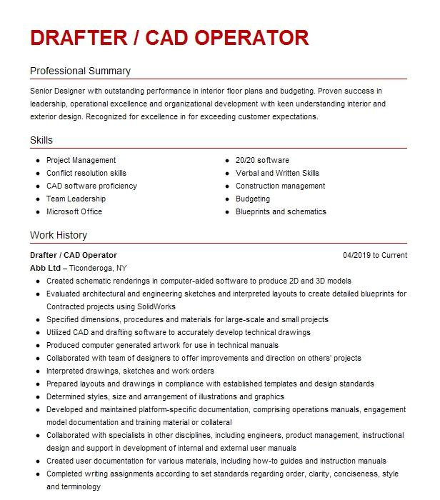 Entry Level Cad Drafter Resume Example Mersen Vinton