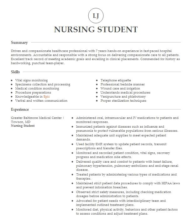 nursing student resume example clinical experience