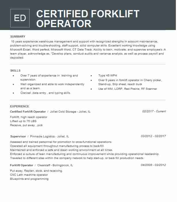 Certified Forklift Operator Resume Sample Livecareer