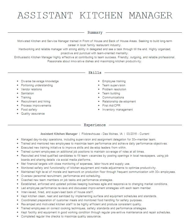 assistant kitchen manager resume example bar louie