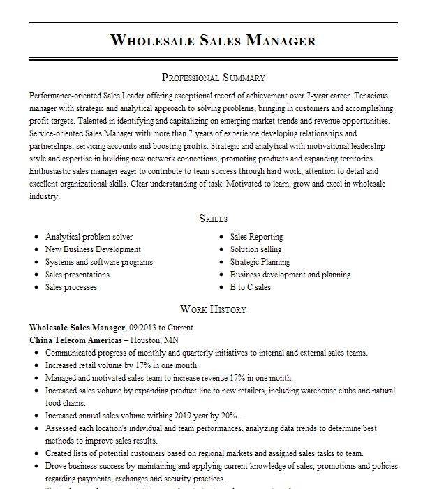 wholesale sales resume example a  foreign  u0026 domestic auto electric
