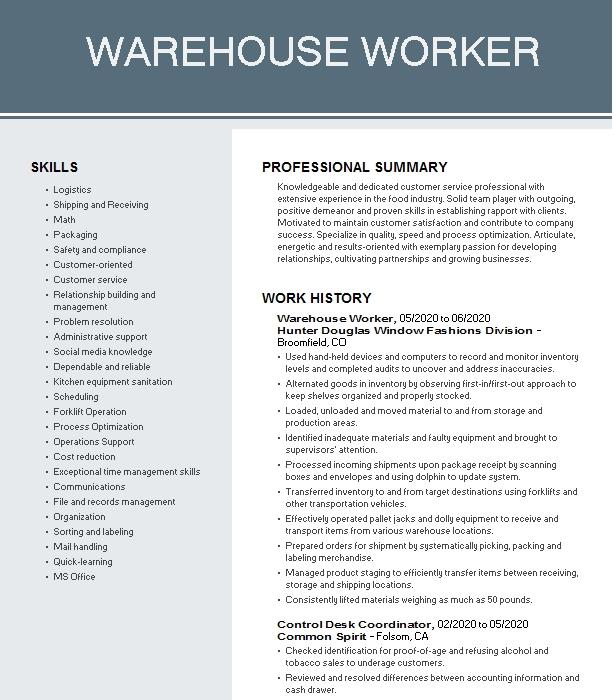 warehouse worker resume example geodis distribution service