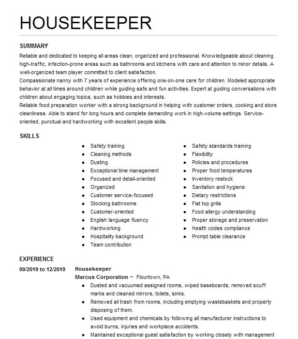 nanny housekeeper resume example private family