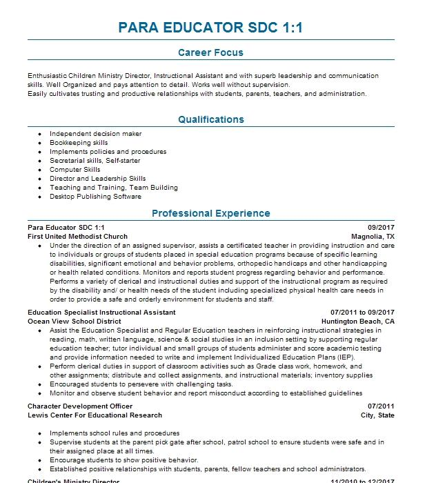 Sdc Teacher Resume Example Mojave Unified School District