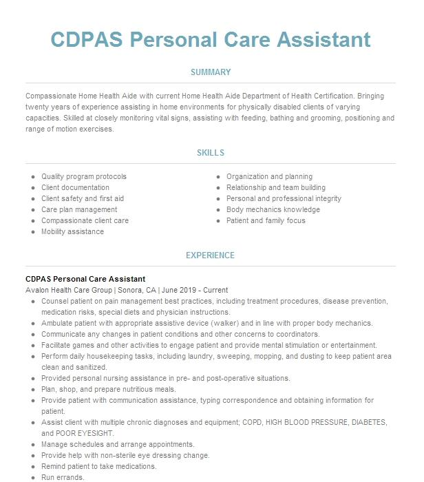 personal health care assistant resume example  benson