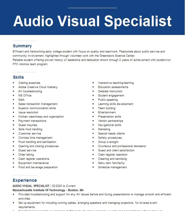 Audio video project manager resume esl papers editing websites au