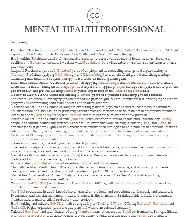 Clinical Advisor/Mental Health Professional Resume Example ...