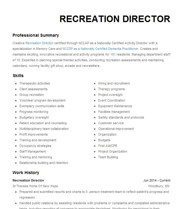 Recreation director resume examples mmu binding for dissertation