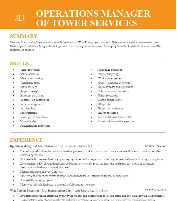 Tower Service Manager/Business Operations Manager Resume