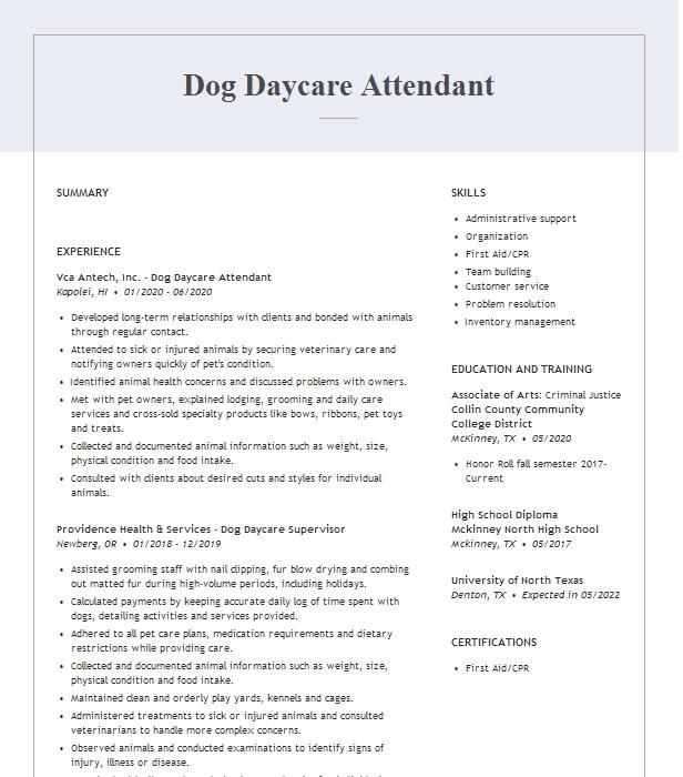 dog daycare manager resume example the dog club