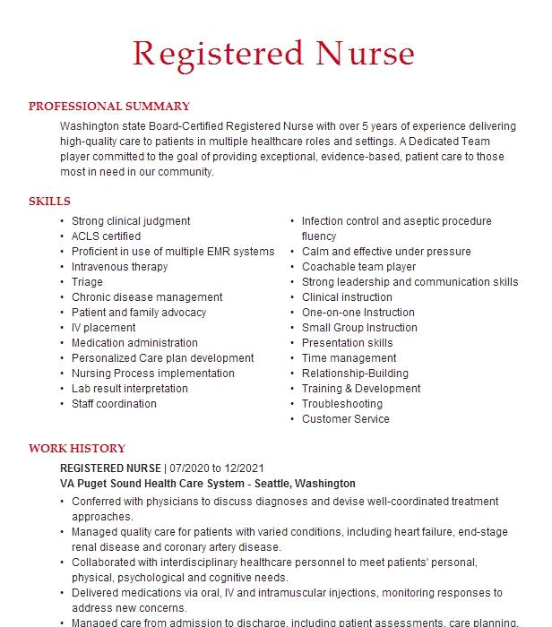 oncology infusion registered nurse resume example kaiser