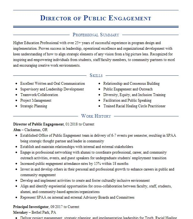 director of audience engagement resume example medscape
