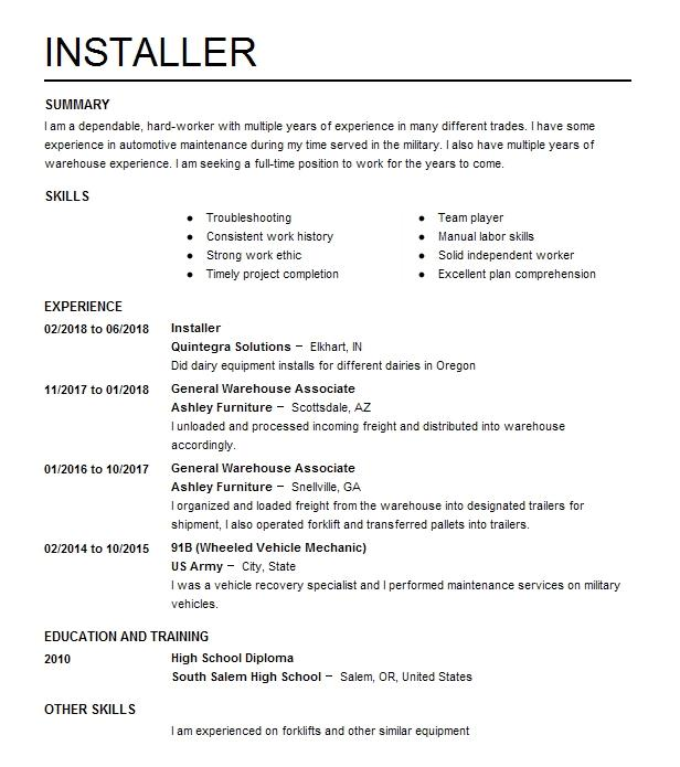 Eye Grabbing Installer Resumes Samples