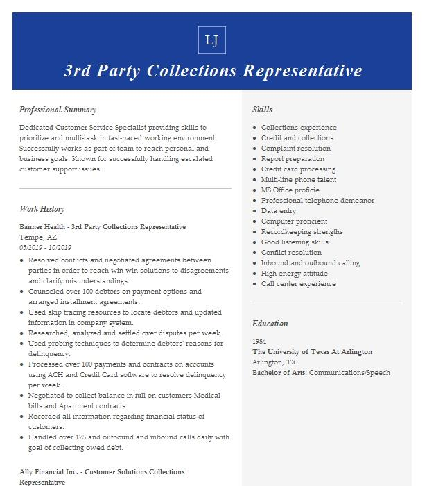 3rd party b2b customer service specialist resume example
