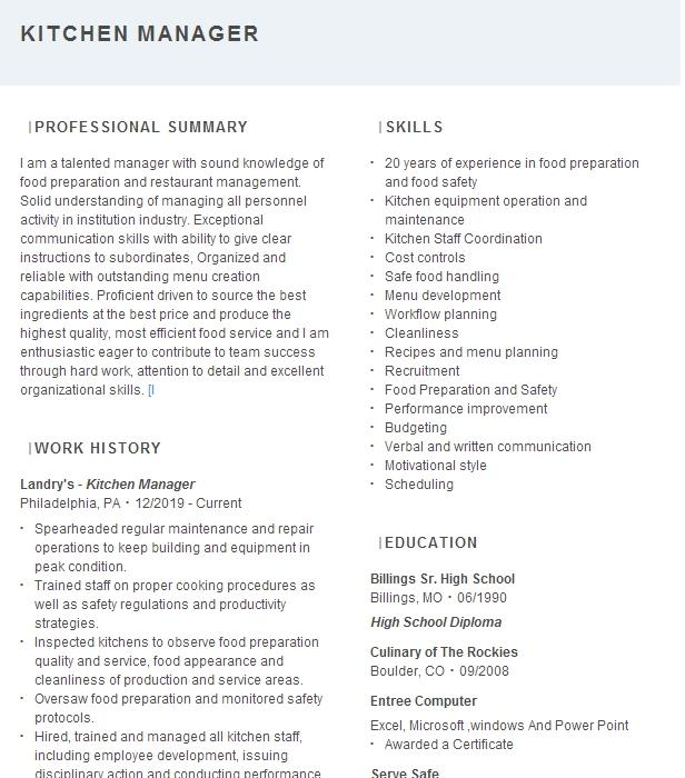 kitchen manager resume example pleasant pops