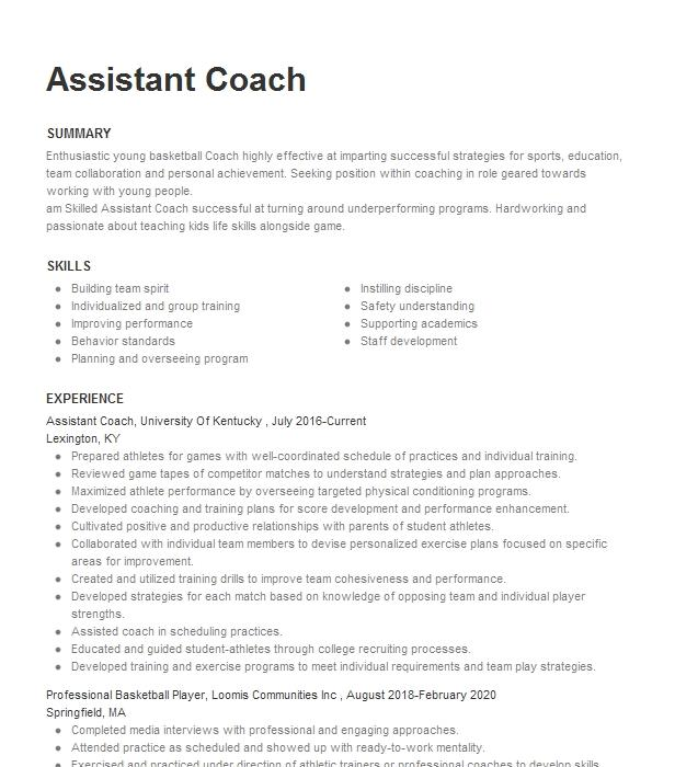badminton assistant coach resume example lincoln high