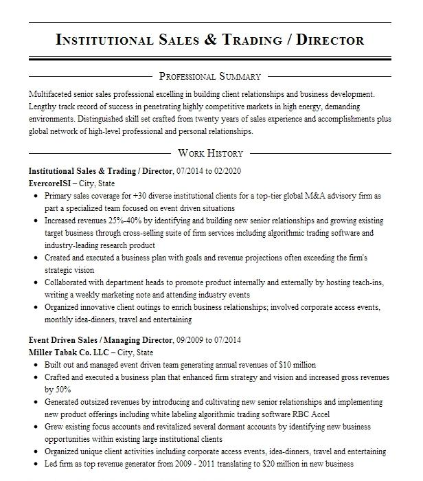 sales and trading summer analyst resume example goldman