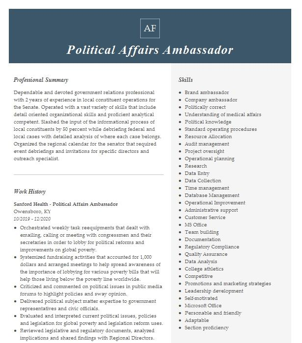 associate political affairs officer resume example united