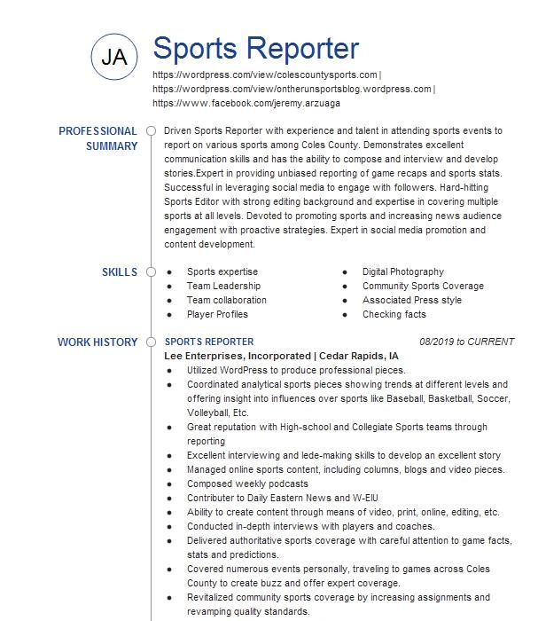 Sports reporter resume sample world history research papers