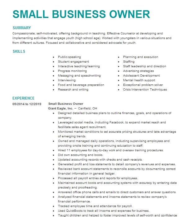 Small Business Owner Resume Example Barnes Trucking Llc