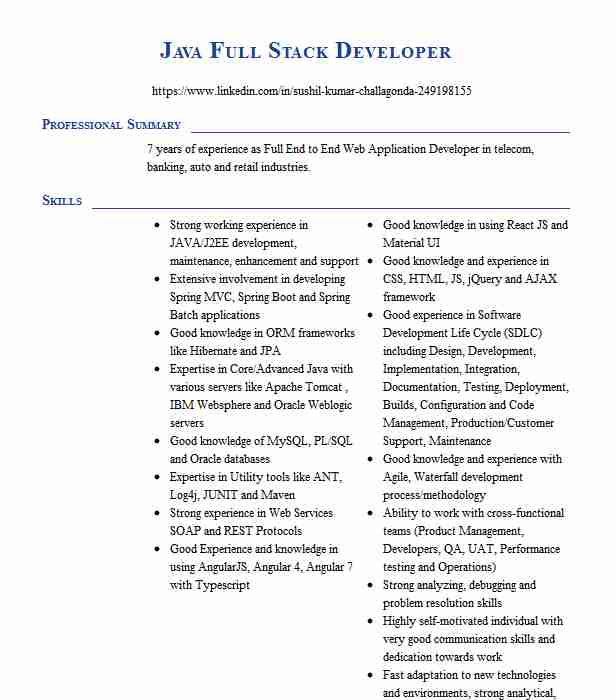 full stack java developer resume example xyqaddsss