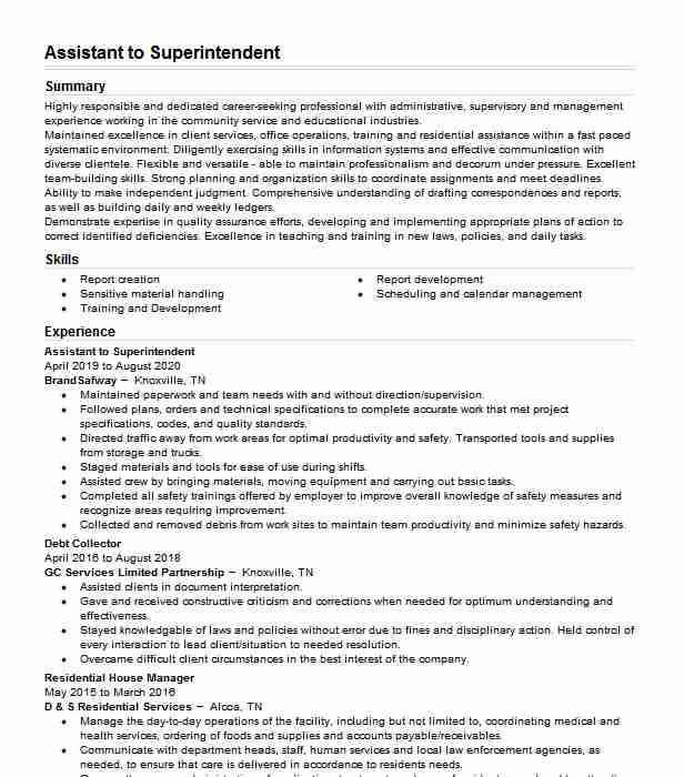 assistant superintendent resume example suffolk