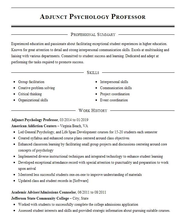 adjunct professor of psychology resume example marymount