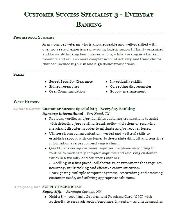 supply technician resume example urs federal services