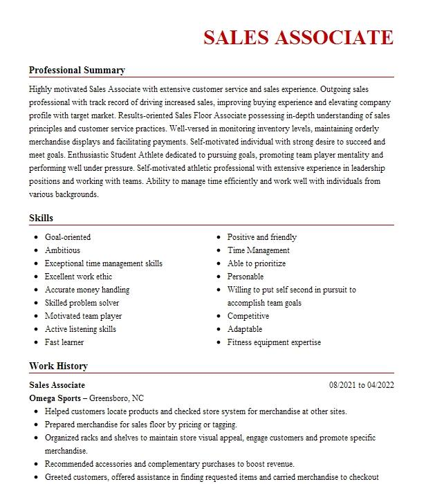 operations associate resume example tyson foods  inc