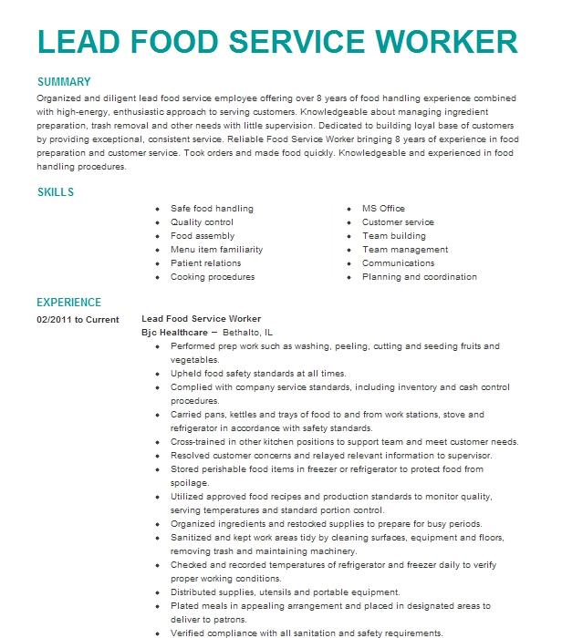 lead cashierfood service worker resume example eurest