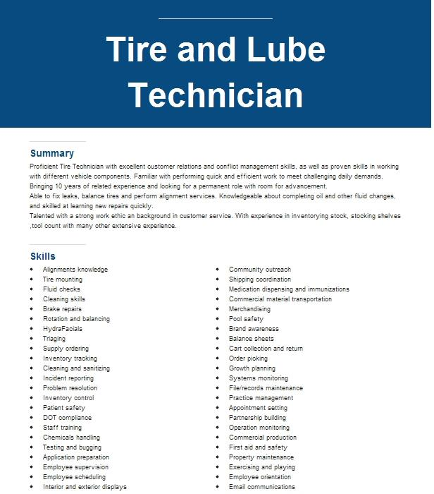 Tire And Lube Technician Resume Sample | LiveCareer