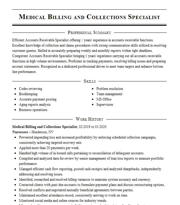 medical billing and collections specialist resume example