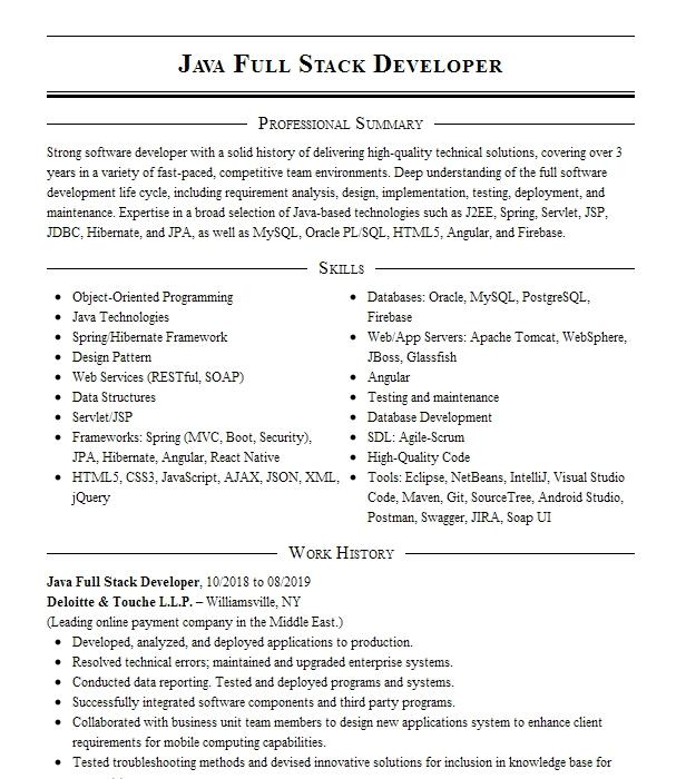 sr  full stack java developer resume example jefferson