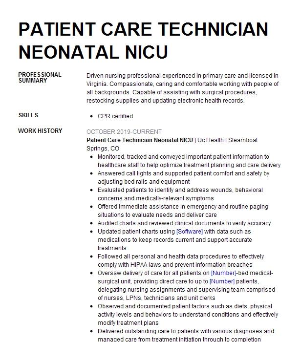 Human Milk Technician C4b Nicu Resume Example Nationwide